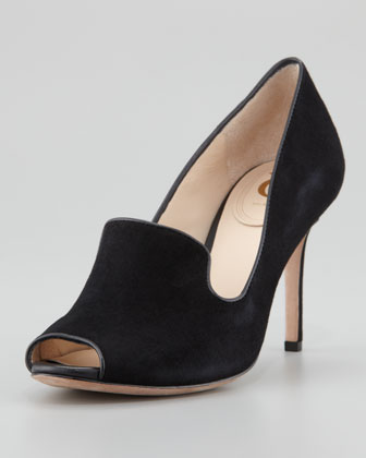 Riley Suede Peep-Toe Pump, Black