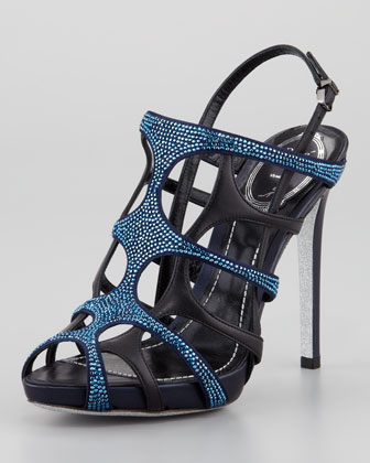Crystal Leather Gladiator Slingback Sandal, Metallic Blue