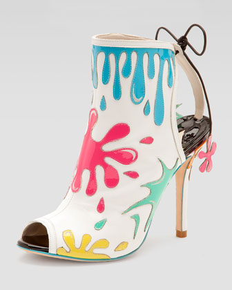 Arty Party Paint-Splatter Patent Bootie, White/Multicolor