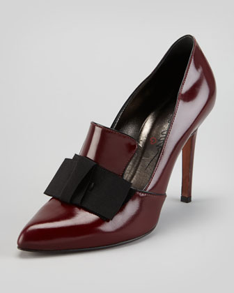 Shiny Leather Loafer Pump