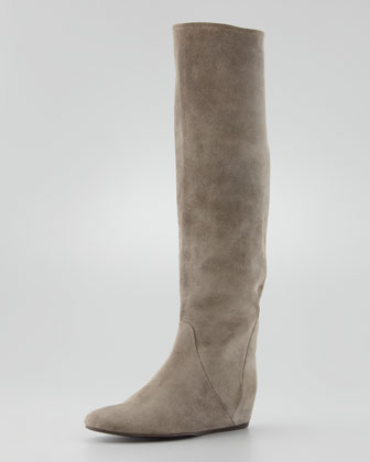 Suede Wedge Knee Boot, Gray