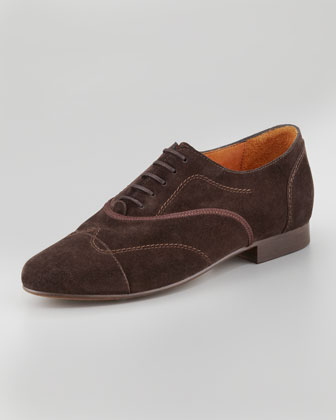Flat Suede Oxford, Brown