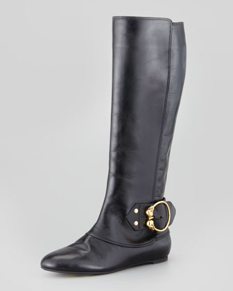 Buckled Flat Leather Knee Boot, Black