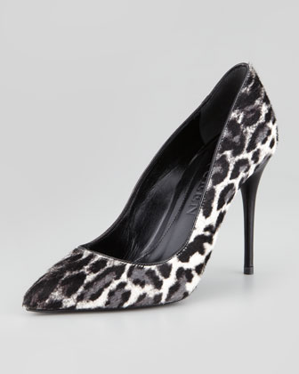 Leopard-Print Calf Hair Pump, Black/White