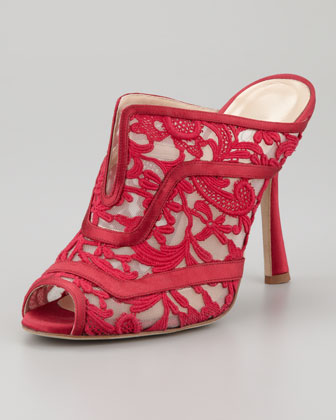 Carleta Lace High-Heel Mule, Ruby