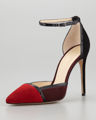 Colorblock Ankle-Wrap d'Orsay Pump