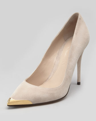Metal Tipped-Toe Suede Pump, Pink