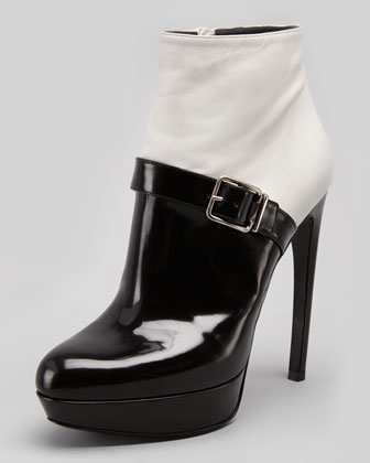 Bicolor Platform Buckle Ankle Boot, White/Black