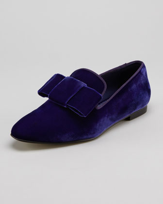 Velvet Bow Smoking Slipper, Blue