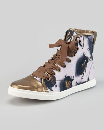 Beetle-Print High-Top Sneaker