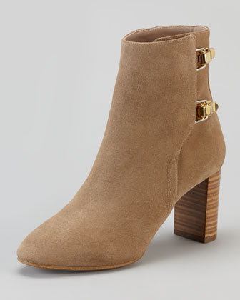 Double-Buckle Suede Mid-Heel Ankle Boot