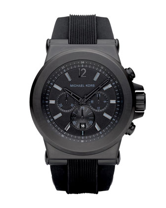 Silicone Chronograph Watch, Black