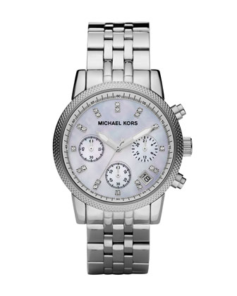 Mid-Size Silver Color Stainless Steel Ritz Chronograph Glitz Watch
