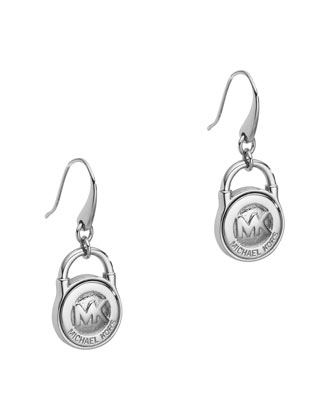 Lock Earrings, Silver