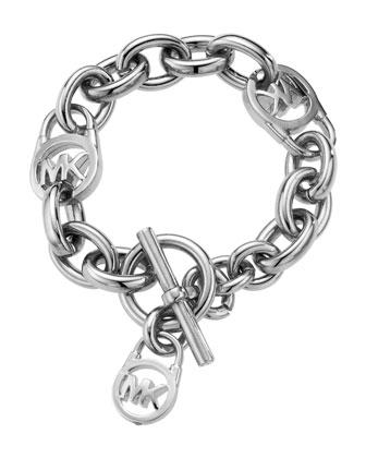 Logo-Lock Charm Bracelet, Silver