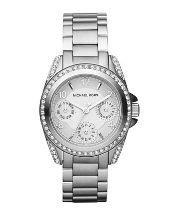 Mini-Size Blair Multi-Function Glitz Watch, Silver-Color