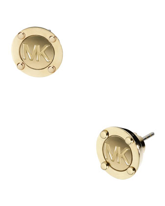 Astor Stud Logo Earrings, Golden