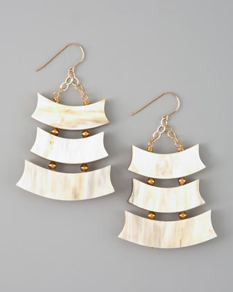 Triple-Row Light Horn Earrings