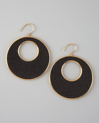 Stingray Circle Earrings, Black