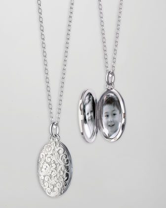 Oval Floral-Carved Locket Necklace