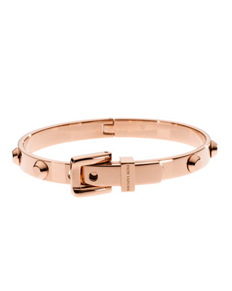 Astor Buckle Bangle, Rose Golden