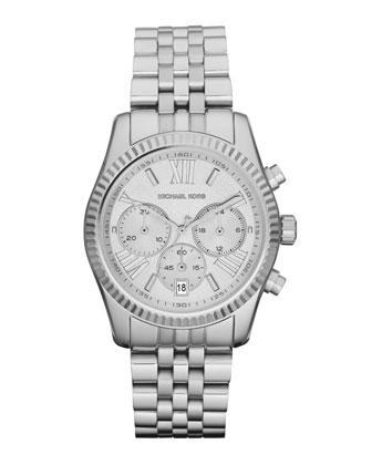 Mid-Size Silver Color Stainless Steel Lexington Chronograph Watch
