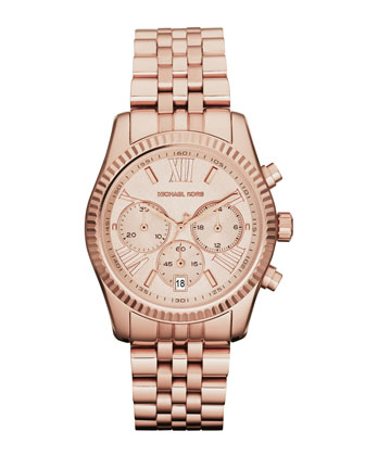 Mid-Size Rose Golden Stainless Steel Lexington Chronograph Watch