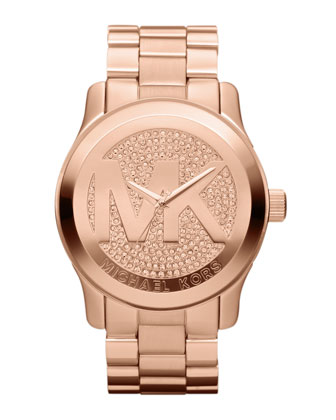 Oversized Rose Golden Stainless Steel Runway Three-Hand Glitz Watch