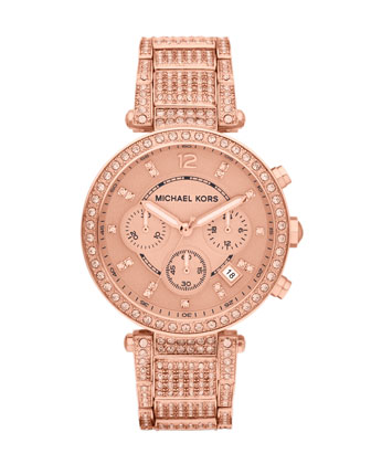 Mid-Size Rose Golden Stainless Steel Parker Chronograph Glitz Watch