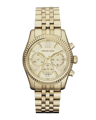 Mid-Size Golden Lexington Chronograph Stainless Steel Watch