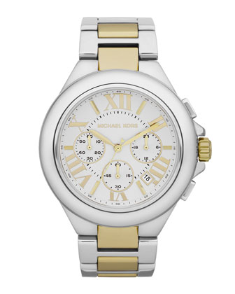 Mid-Size Silver Color Golden Stainless Steel Camille Chronograph Watch