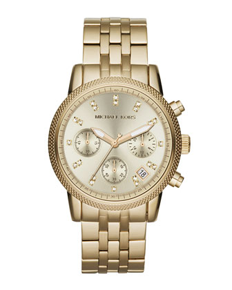 Mid-Size Golden Stainless Steel Ritz Chronograph Glitz Watch
