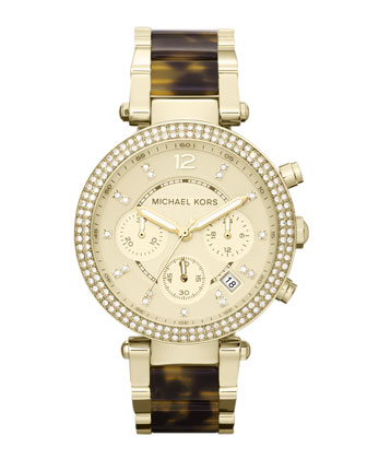 Mid-Size Golden Stainless Steel Parker Chronograph Glitz Watch