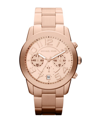 Mid-Size Rose Golden Stainless Steel Mercer Chronograph Watch