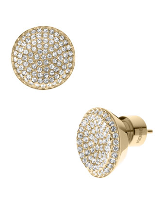 Pave Stud Earrings, Golden