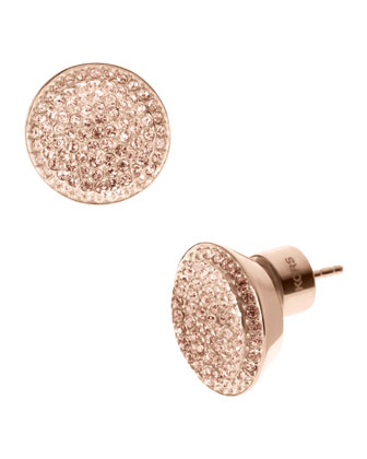 Pave Stud Earrings, Rose Golden