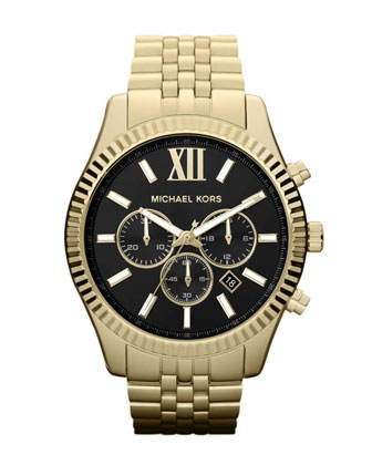 Oversized Golden Stainless Steel Lexington Three-Hand Watch