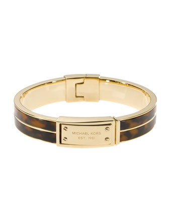 Logo-Plaque Bangle, Tortoise
