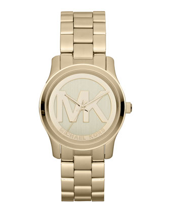 Mid-Size Golden Stainless Steel Logo Three-Hand Watch