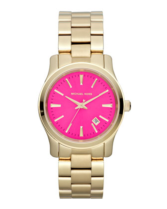 Mid-Size Golden Stainless Steel Pink-Face Three-Hand Watch