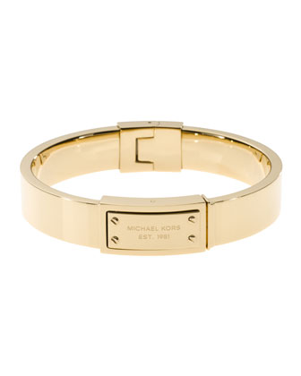 Logo-Plaque Hinge Bangle, Golden