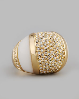 Domed Crystal Ring, White