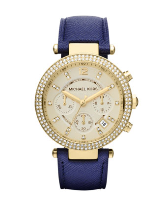 Mid-Size Navy Leather Parker Chronograph Glitz Watch
