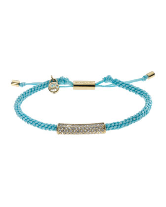 Macrame Cord Pave Bracelet, Turquoise/Golden