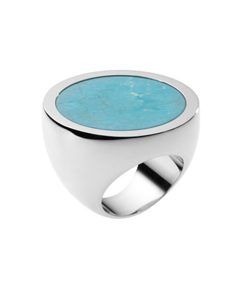 Turquoise Slice Ring, Silver Color