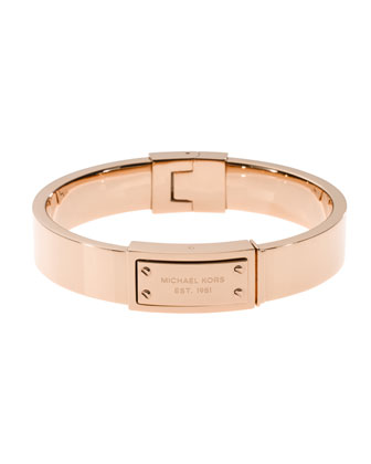 Logo-Plaque Hinge Bangle, Rose Golden