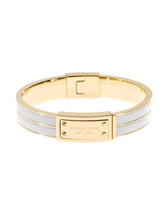 Plaque Hinge Bangle, Golden/White