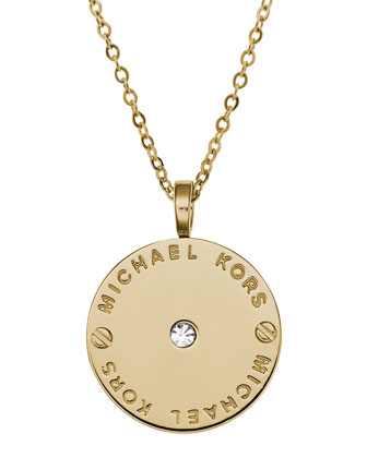 Logo Disc Necklace, Golden