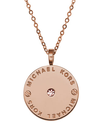 Logo Disc Necklace, Rose Golden