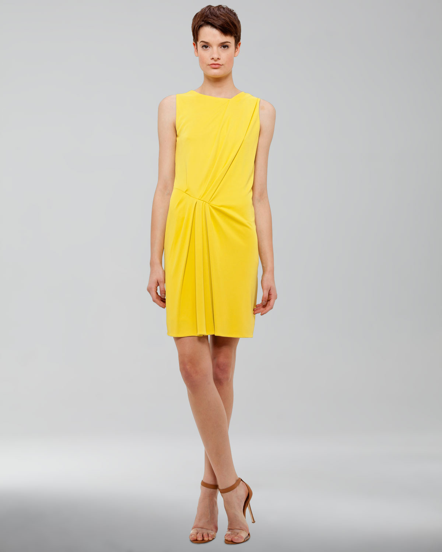 Womens Draped Jersey Dress, Citron   Akris punto   Citron (4)